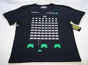 Space-Invaders-Video-Game-Mens-Black-Printed-T-Shirt-Size-M-New