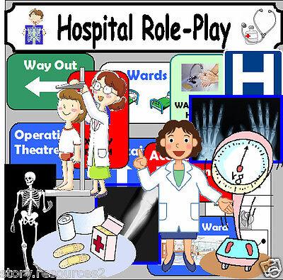 HOSPITAL ROLE PLAY Teaching resources cd KS1 EYFS CHILDMINDER Classroom Display