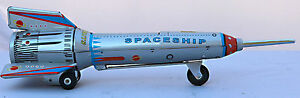 TIN-TOY-SPACE-ROCKET-AND-SPACEMEN-ROCKET-WITH-LIFT-ACTION