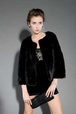 Womens Gorgeous Real Mink Fur Jacket Winter Slim Overcoat Short Sleeve QD20311