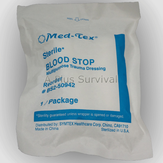 2 Pack Blood Stopper Trauma Dressing Sterile Extra Absorbent First Aid Kit