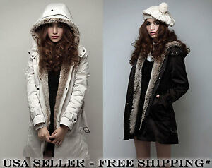 Womens Thick Winter Fall Fleece Trench Coat Jacket Removable Fur