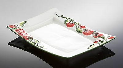 BASSANO rechteckige Tomaten Caprese Servierplatte 33x24 italienische Keramik