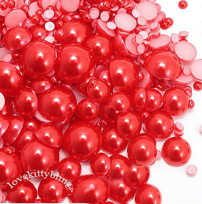 USA Seller --- 800 Pieces Red  Mixed Sizes Flatback Pearl Cabochons