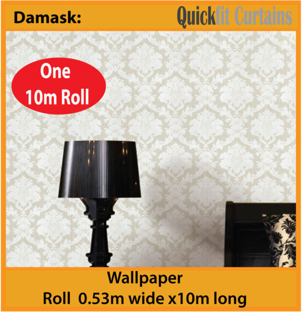 DAMASK: ANTIQUE DAMASK DESIGN PVC WALLPAPER ROLL: natural white / cream