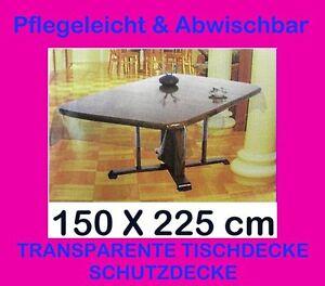 150x225 cm tischdecke durchsichtig transparent schutzdecke wetterfest vinyl neu ebay. Black Bedroom Furniture Sets. Home Design Ideas