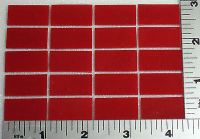 "0124.50 - 20 THIN OPALESCENT STRIKER RED 1/2"" x 1"" BULLSEYE GLASS 90 COE"