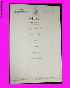 MN3-MENU-MESSAGERIES-MARITIMES-1958-PAQUEBOT-CAMBODGE