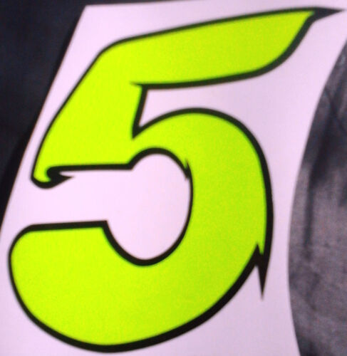 """x1 8/"""" Digit Race Numbers vinyl stickers Style 2 FLUORESCENT YELLOW"""