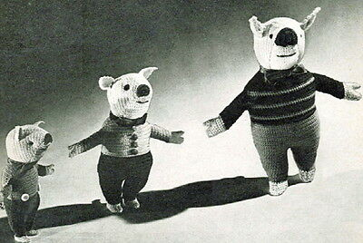 Vintage Toy Crochet pattern-how to make a set of 5 cute 1940s pigs and piglets