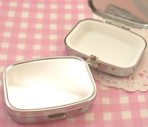 Trinket Tin Box Blank Plain Silver Colour DIY Decoden Kawaii Kitsch UK SELLER