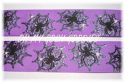 1.5 HALLOWEEN TWINKLE GLITTER SILVER SPARKLE SPIDER WEB GROSGRAIN RIBBON PURPLE