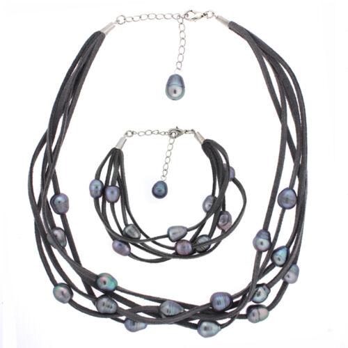 Cuir Daim et collier de perles et Bracelet Set en daim blanc avec poire blnsett