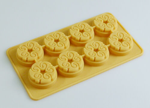 8 Mini CHOCOLATE SWIRL Mold Ice Wax Melt Guest Soap Silicone Tray Mould