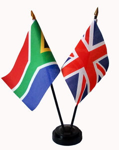 UNION-JACK-amp-SOUTH-AFRICA-friendship-table-flag-set-WITH-flags-and-base-african