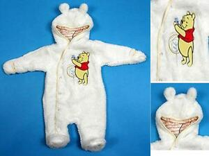 Baby-Disney-Winnie-The-Pooh-Cream-Fluffy-Hooded-Snowsuit-0-18-Months