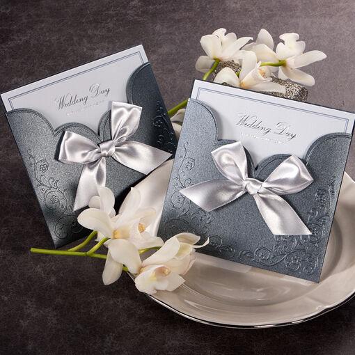 100Sets Satin Ribbon Wedding Invitations 100Cards+100Envelopes+100Seals/GA1015