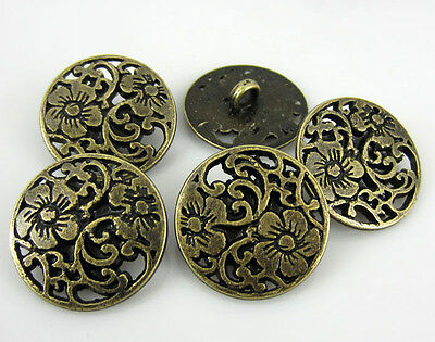 """30Pcs 3/4"""" Bronze Carving Flower Metal Buttons Fit Sewing Metal Shank Button"""