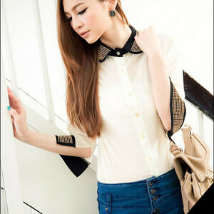 CHIC-PATCHWORK-COLOR-BLOCK-HALF-SLEEVE-TURN-DOWN-COLLAR-CHIFFON-TOP-WHITE-S-3594