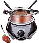Nostalgia Stainless Steel Fondue Maker Dipping Pot, Chocolate & Cheese Machine W/ Fork Set - FPR200