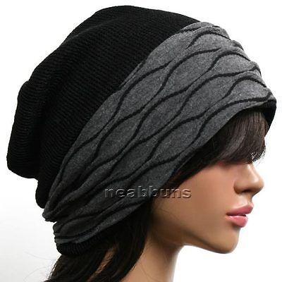 beautiful desinger BEANIE women wrap Knit cotton rasta Hat ski Skull Cap new d4j