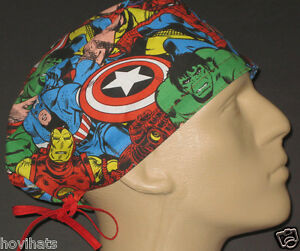 MARVEL-COMICS-AVENGERS-COLLAGE-SCRUB-HAT-FREE-CUSTOM-SIZING-IF-REQUESTED