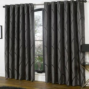 Image Is Loading BLACK SILVER ART DECO Curtains Nouveau Vintage Style