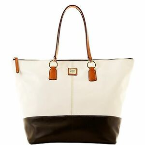 Dooney-amp-Bourke-Lambskin-O-Ring-Shopper-White-Black