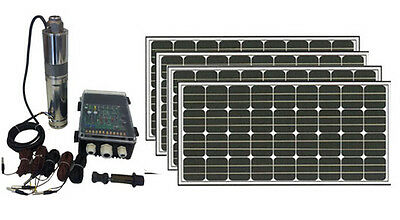 "4"" 500W S/Steel submersible Solar Pump/40mcable/4x190w solar Panels.FreePostage"