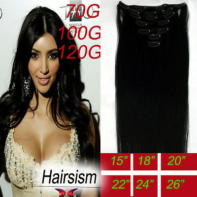 "Any Length 100% Real Clip in Human hair Extensions 100g/70g 15""18""20""22""Dlack 1B"