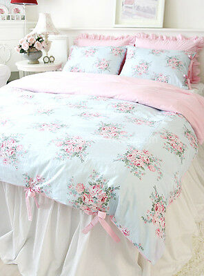 Shabby Chic Cottage Floral Quilt Duvet Cover Set Blue Pink Check Ties Queen Size