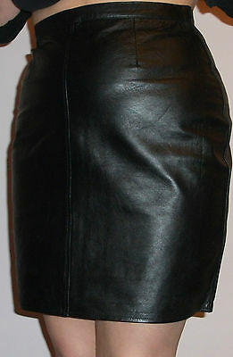 Black Genuine Leather Short / Mini Pencil Skirt UK 8-22