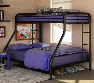 Twin Over Full Black Metal Loft Bunk Bed Dorm - New and FREE SHIPPING!