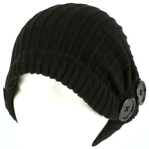 Winter-Slouchy-Ribbed-Knit-Beanie-Button-Ski-Hat-Black