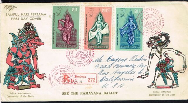 1374 INDONESIA TO US REGISTERED FDC COVER 1962 COSTUME DANCER,  BANDUNG - LA