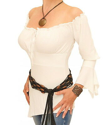 New Ivory off the Shoulder Bell Sleeve Tunic Top
