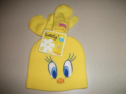 NEW Toddler Girls Beanie Hat Mittens Set Tweety Pie Bird Yellow Cap Winter Snow
