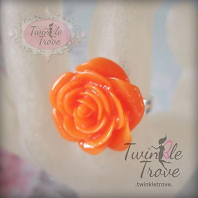 Carved Flower Rose Ring Retro Kitsch Vintage Cute Emo Adjustable Black & Others