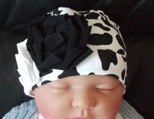 BABY GIRL//CHILDS ANIMAL PRINT BEANIE COTTON HAT  0-24 MONTHS 2 SIZES AVAILABLE