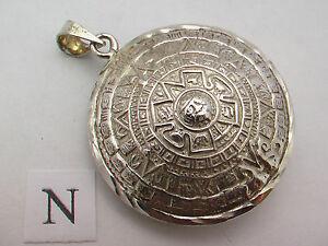 Taxco-mexikanische-925-Sterling-Silber-Azteken-Kalender-Sun-Stone-Anhaenger-Tops