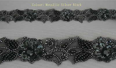 "Handmade Floral Corded Beaded Edging Motif Trim 1"" width Colour: M Black  #1"