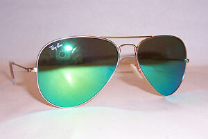 green aviator sunglasses  NEW RAY BAN AVIATOR Sunglasses 3025 112/19 GOLD/GREEN MIRROR 58MM ...
