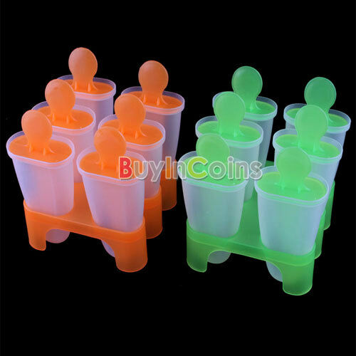6 Cell Frozen Ice Cream Popsicle Maker Lolly Mould Tray Pan Kitchen DIY Pop Mold