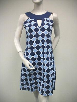TRACY NEGOSHIAN Sky Dark Blue White Print Coco Sleeveless Dress Mini NEW NWT