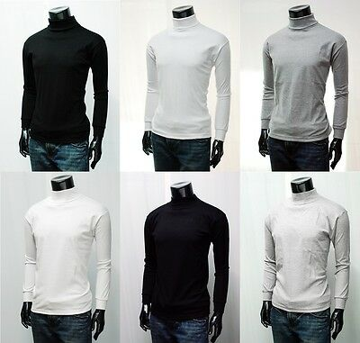 New Mens Cotton Turtleneck Sweatshirt Jumper 4 Colours Polo Neck Tops.(Sz) XS~XL