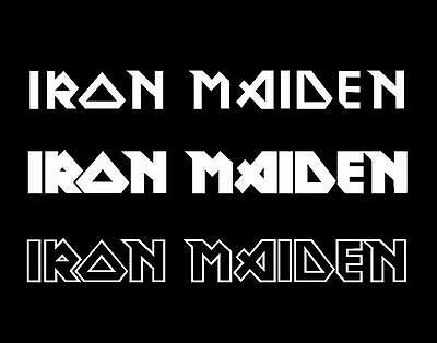 3 x Iron Maiden stickers 30cm long each WHITE decals heavy metal band car window