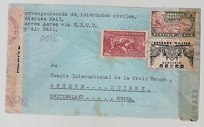 1944 Perote Veracruz Mexico Internment Camp Triple Censored Cover Prisoner Mail