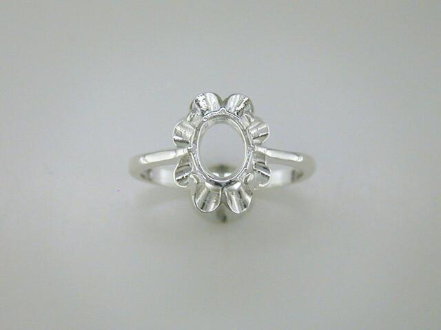 Oval Crown Style Ring Setting Sterling Silver