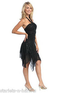 BLACK-Ballroom-Dance-Latin-Salsa-Dancing-Jive-Cocktail-Party-Dress-1042-S-M-L