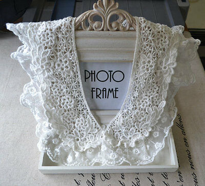 Lace Applique Collar Cotton White Altered Clothing 30cm by 9cm 1 pair